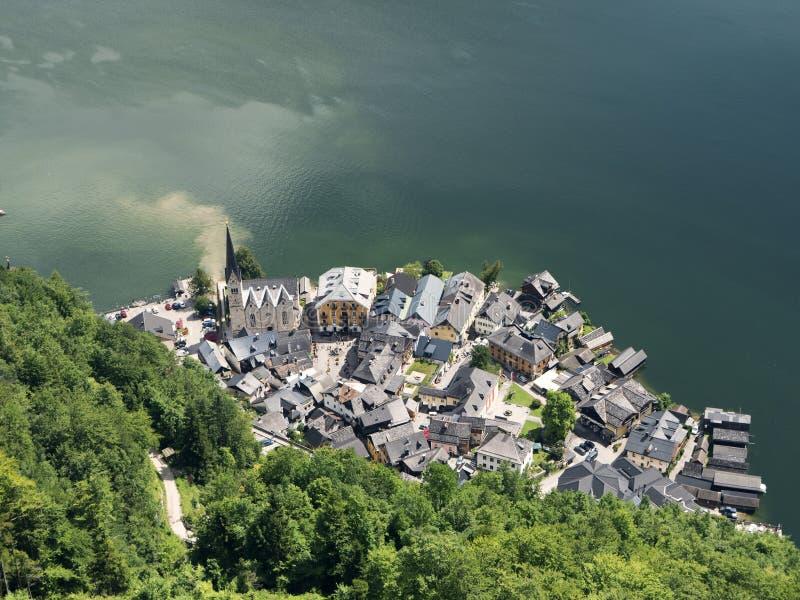 Paisaje de Hallstatt, Salzburg Lago mountain, macizo alpino, barranco hermoso en Austria imágenes de archivo libres de regalías