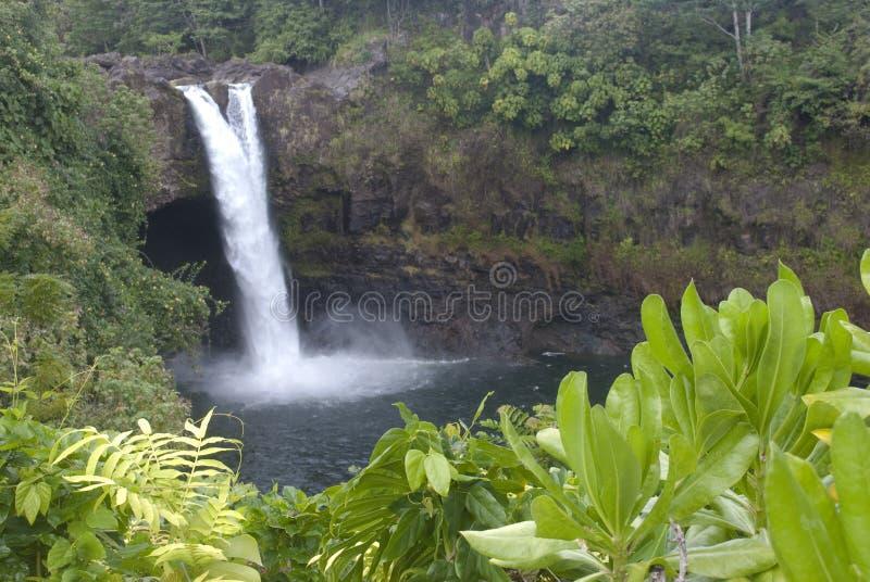 Paisaje de Hawaii: El arco iris cae cascada imagenes de archivo