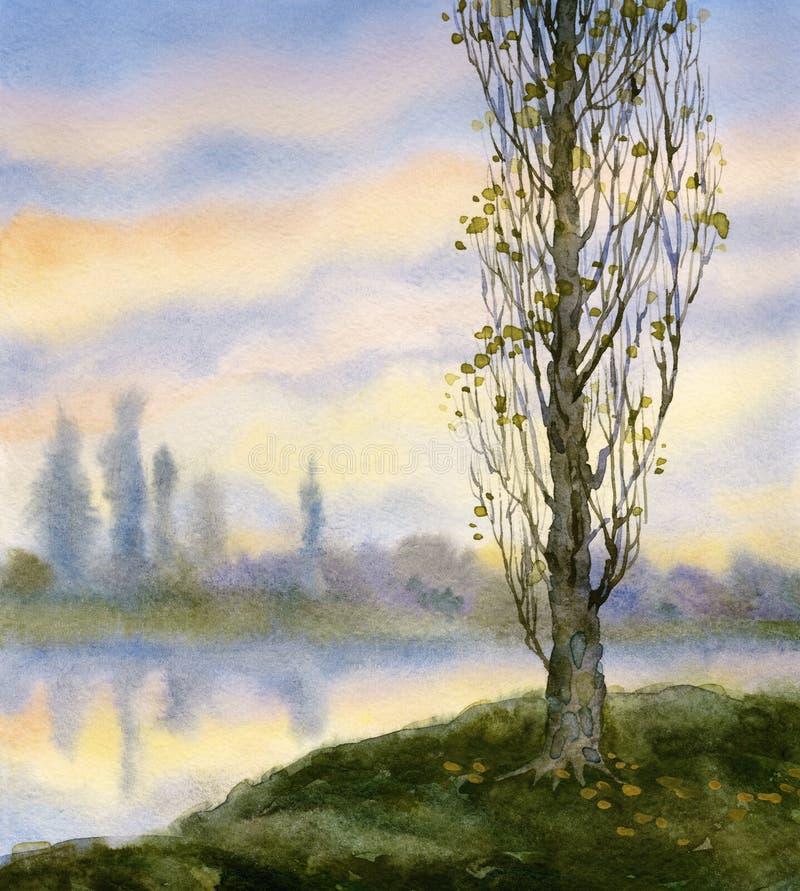Paisaje de la acuarela Álamo del otoño en el río reservado libre illustration