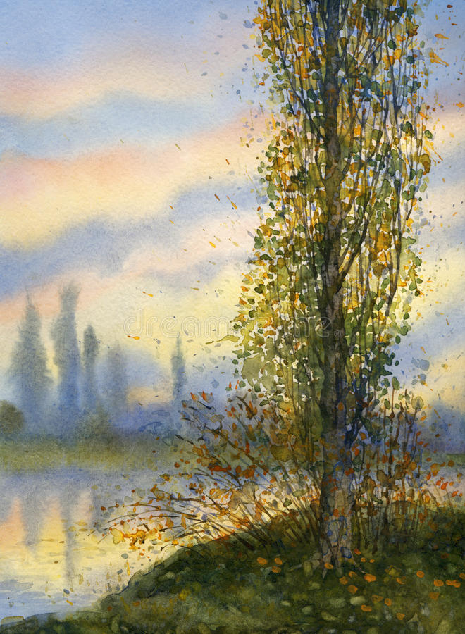 Paisaje de la acuarela Álamo en la puesta del sol sobre el lago ilustración del vector