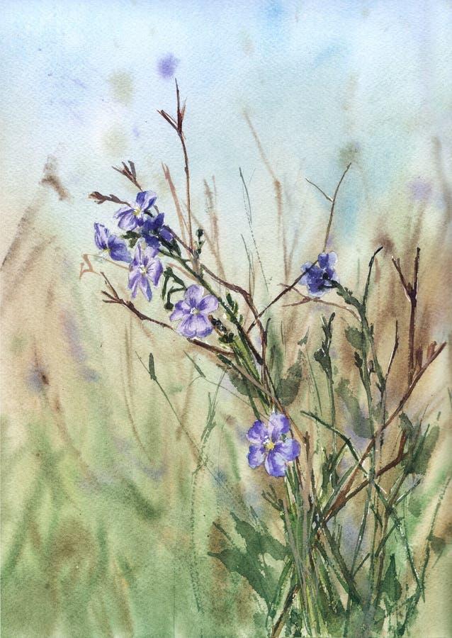 paisaje de la acuarela con el prado y las flores púrpuras stock de ilustración