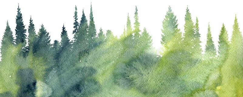 Paisaje de la acuarela con los árboles ilustración del vector