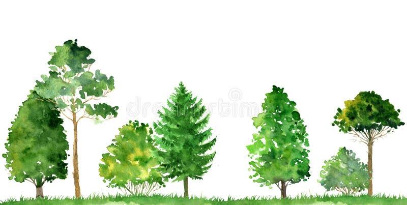 Paisaje de la acuarela con los árboles stock de ilustración