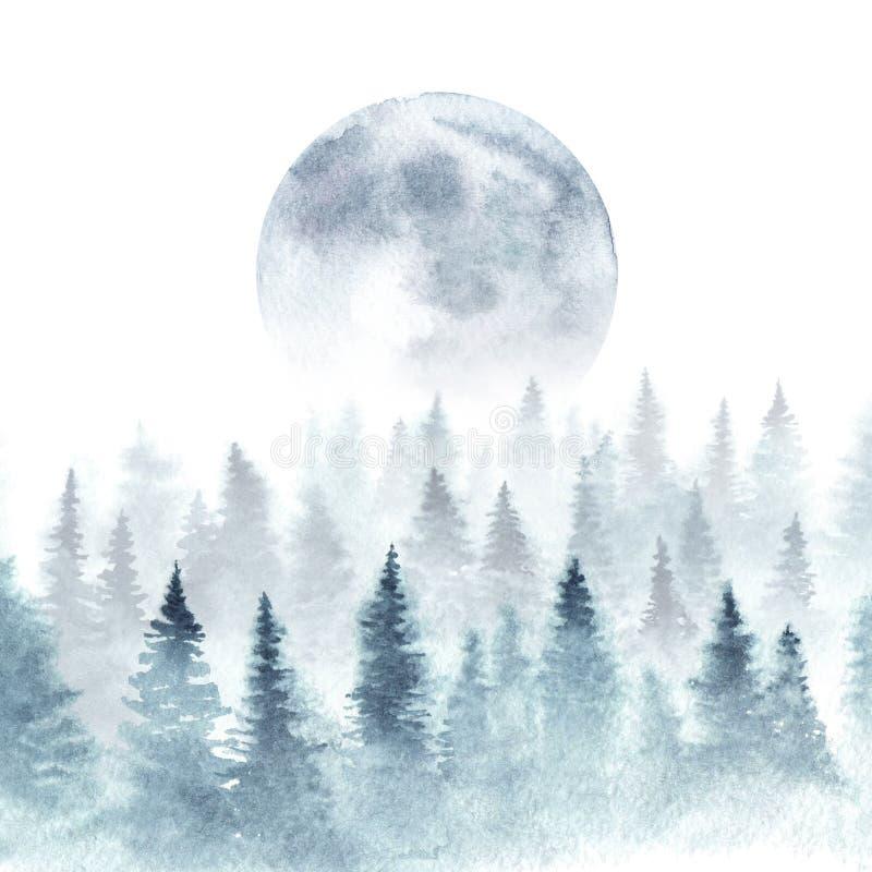 Paisaje de la acuarela con los pinos y la luna stock de ilustración