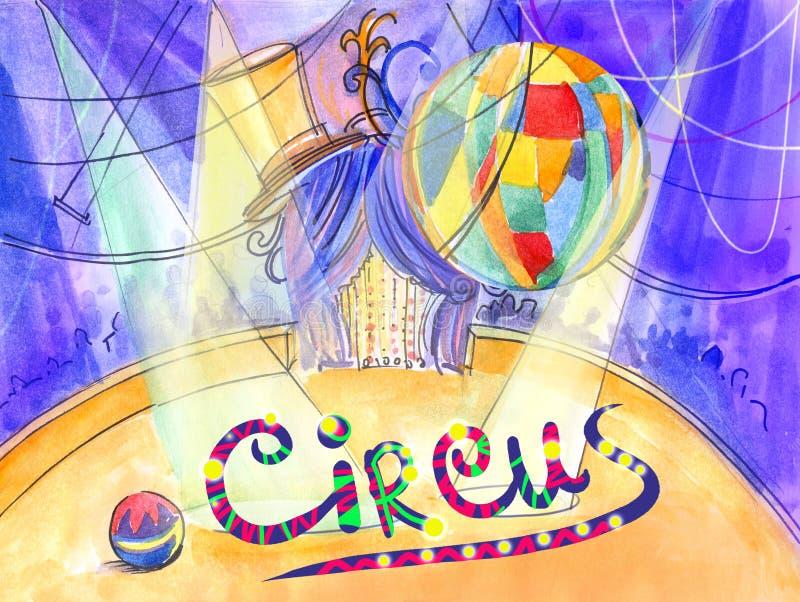Paisaje de la acuarela del ejemplo del circo y arena del circo con la cortina stock de ilustración