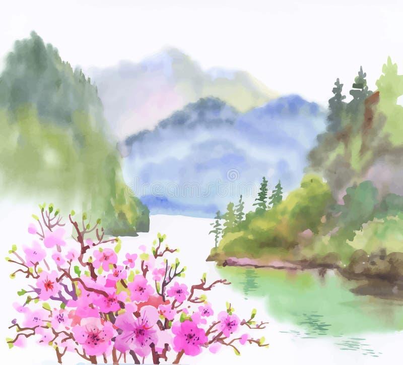 Paisaje de la acuarela del río con las flores stock de ilustración