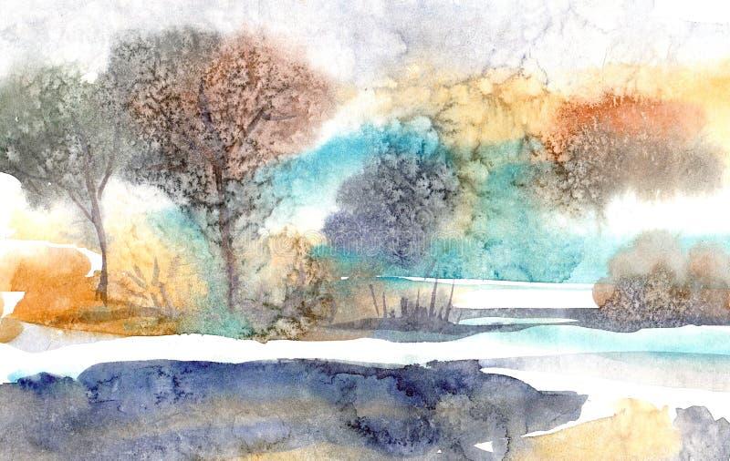 Paisaje de la acuarela Mañana en el bosque alrededor del lago ilustración del vector