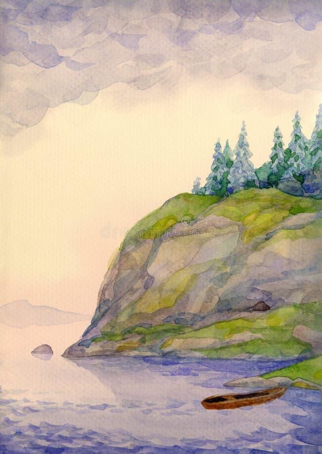 Paisaje de la acuarela Picea en la colina sobre el lago ilustración del vector