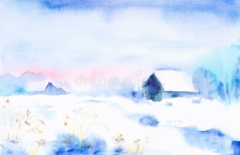 Paisaje de la acuarela Puesta del sol del invierno en el pueblo entre los ?rboles stock de ilustración