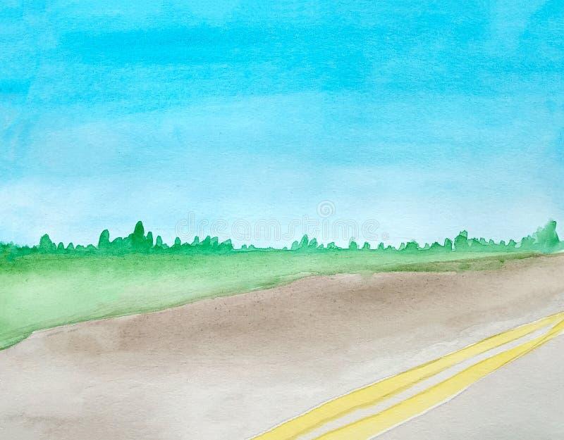 Paisaje de la acuarela de un camino gris vac?o del asfalto con dos rayas continuas El campo en el fondo Bosque en el horizonte libre illustration
