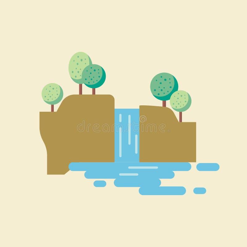 Paisaje de la cascada en estilo plano ilustración del vector