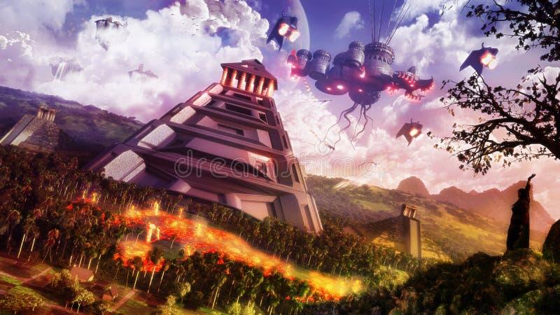 Paisaje de la ciencia ficción ilustración del vector