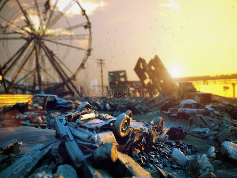 Paisaje de la ciudad de la apocalipsis stock de ilustración