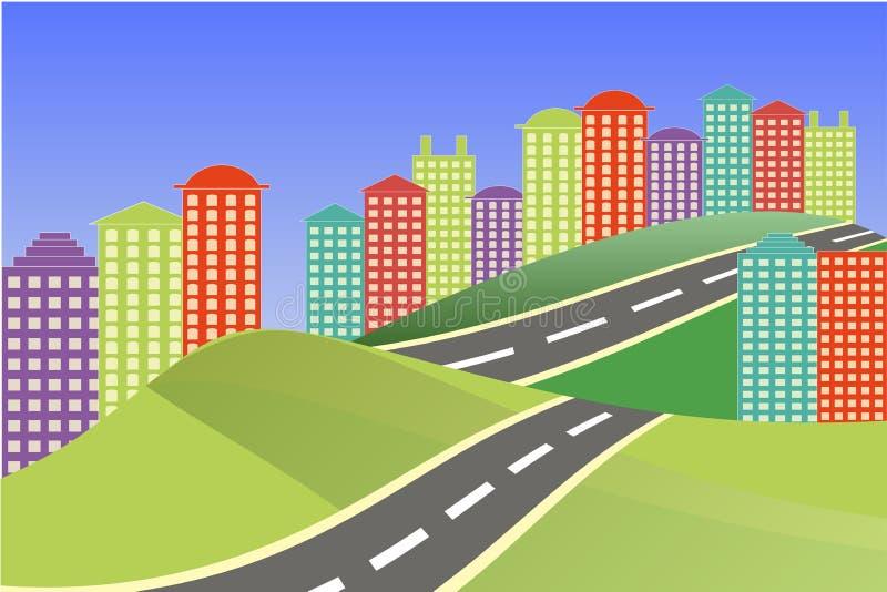 Paisaje de la ciudad Ciudad brillante colorida, carretera gris stock de ilustración