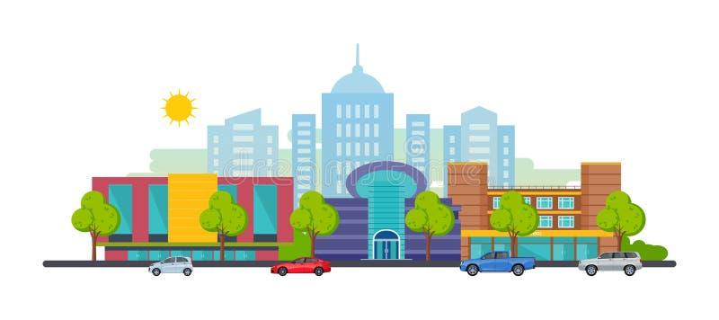 Paisaje de la ciudad, paisaje, calles, en rascacielos del fondo y edificios industriales libre illustration
