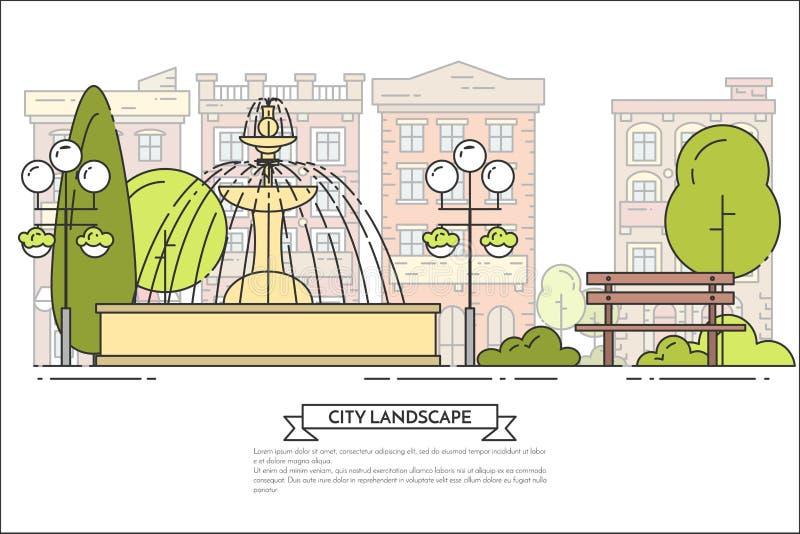 Paisaje de la ciudad con el banco, fuente en la línea arte del parque público libre illustration