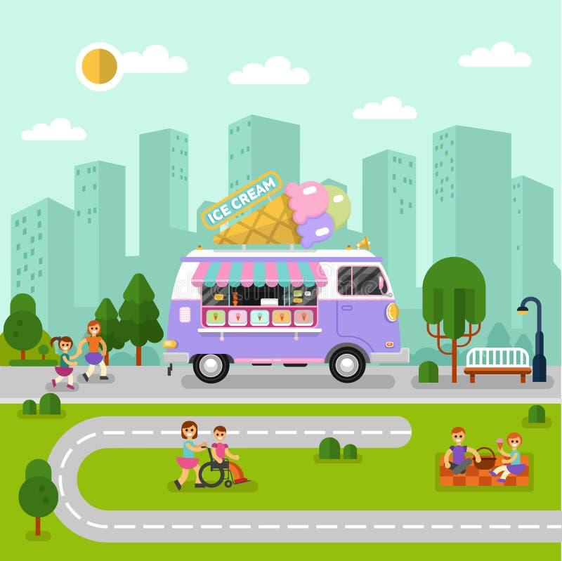 Paisaje de la ciudad con la furgoneta del helado ilustración del vector