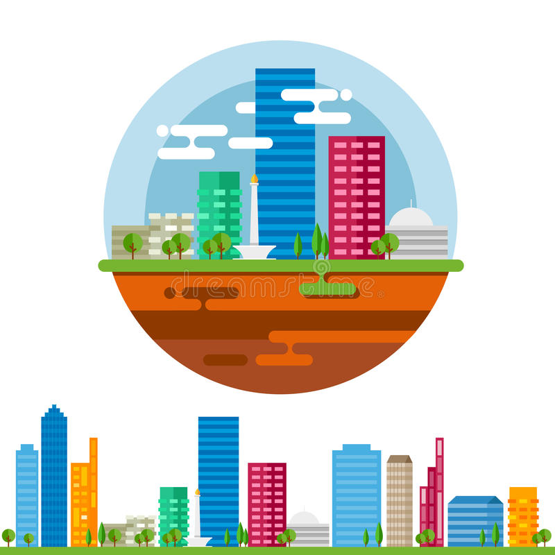 Paisaje de la ciudad de Jakarta en el vector plano ilustración del vector