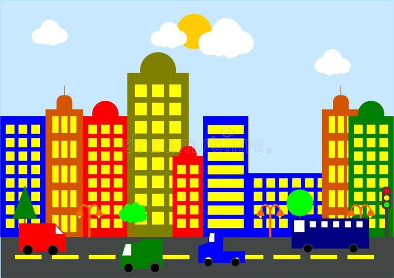 Paisaje de la ciudad de la historieta imagen de archivo