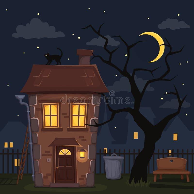 Paisaje de la ciudad de la noche con la casa y el árbol Ilustración del vector stock de ilustración
