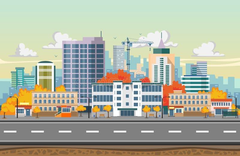 Paisaje de la ciudad del otoño en diseño plano Rascacielos, parada de autobús, camino, árboles y edificios de la ciudad Fondo inc ilustración del vector
