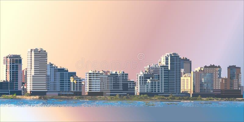 Paisaje de la ciudad en el amanecer libre illustration