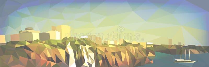 Paisaje de la ciudad en el estilo de gráficos poligonales stock de ilustración