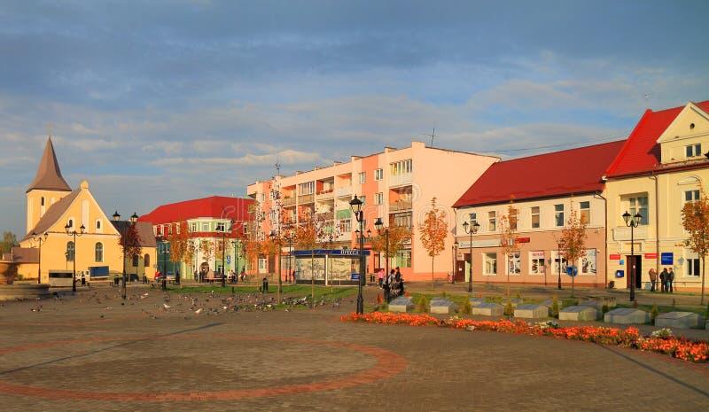 Paisaje de la ciudad en Victory Square en la ciudad de Gvardeysk imágenes de archivo libres de regalías