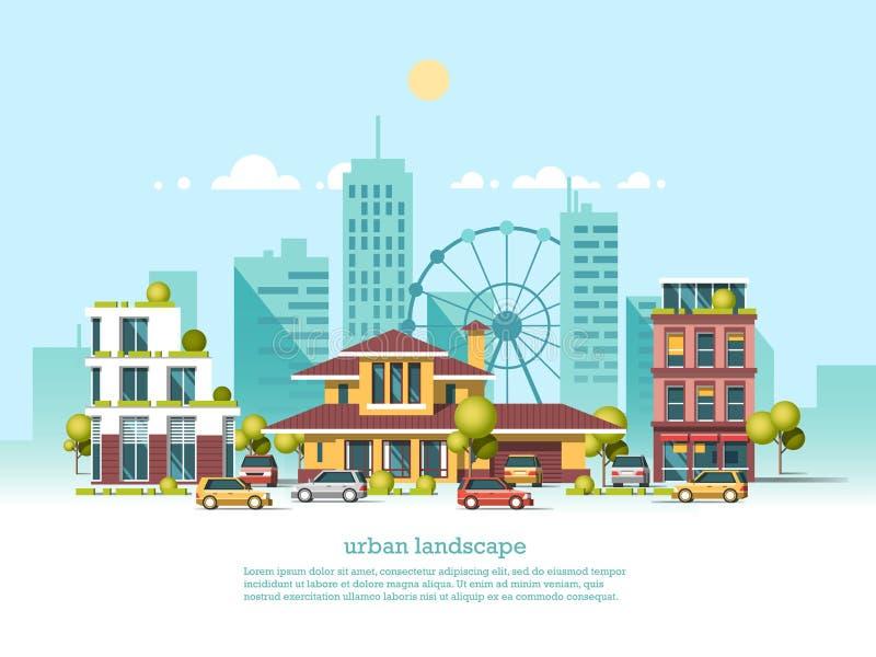 Paisaje de la ciudad Estilo moderno de la arquitectura 3d Arquitectura moderna, noria, coches, rascacielos ilustración del vector