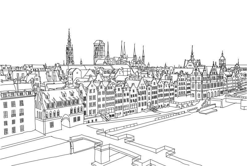 Paisaje de la ciudad de Gdansk Fondo drawned mano del vector Línea arte blanco y negro stock de ilustración