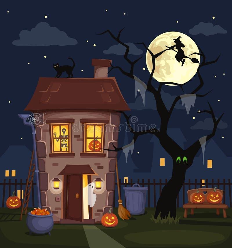 Paisaje de la ciudad de la noche de Halloween con una casa encantada Ilustración del vector stock de ilustración