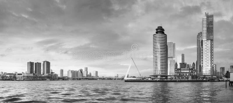 Paisaje de la ciudad, panorama blanco y negro - opinión sobre Erasmus Bridge y ciudad de Feijenoord del distrito de Rotterdam fotos de archivo