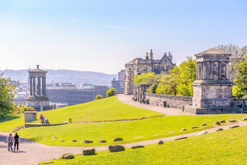 Paisaje de la colina del calton, Edimburgo, Reino Unido imágenes de archivo libres de regalías