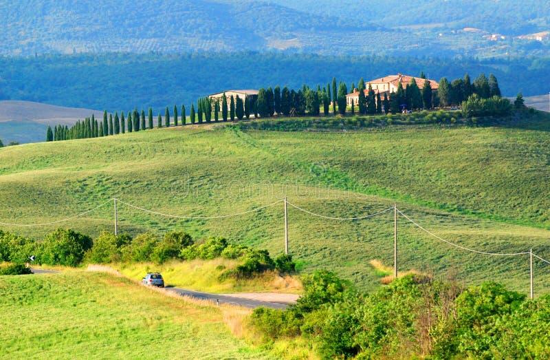 Paisaje de la colina en Toscana   fotografía de archivo libre de regalías