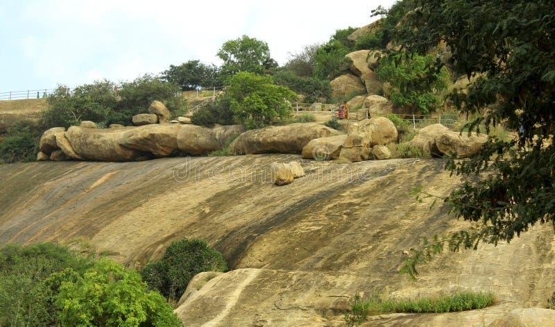 Paisaje de la colina de las bolas y de los árboles de una roca de sittanavasal foto de archivo