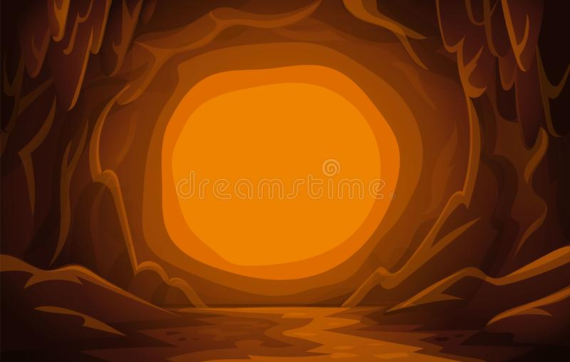 Paisaje de la cueva Escena de la montaña ilustración del vector