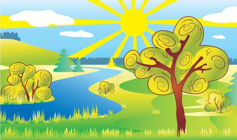 Paisaje de la ecología de la naturaleza. Sun y río. fotografía de archivo