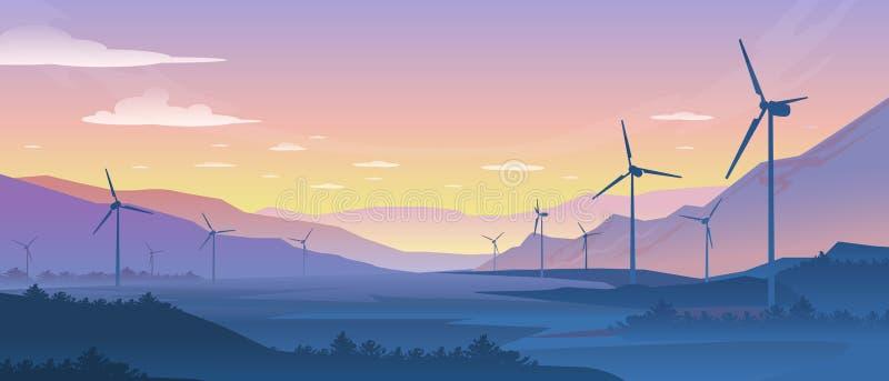 Paisaje de la ecología de la montaña Las turbinas sostenibles de la energía eólica siluetean con el bosque y las montañas del pin ilustración del vector