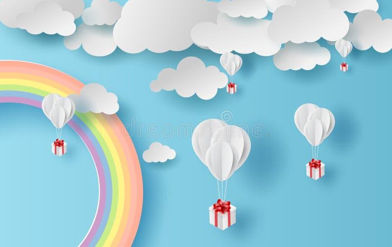 Paisaje de la estación de verano del ejemplo con un arco iris en fondo del cielo azul Regalo de los globos que flota en el aire c stock de ilustración