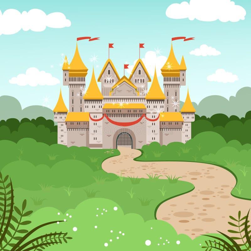 Paisaje de la fantasía con el castillo del cuento de hadas Ejemplo del vector en estilo de la historieta stock de ilustración