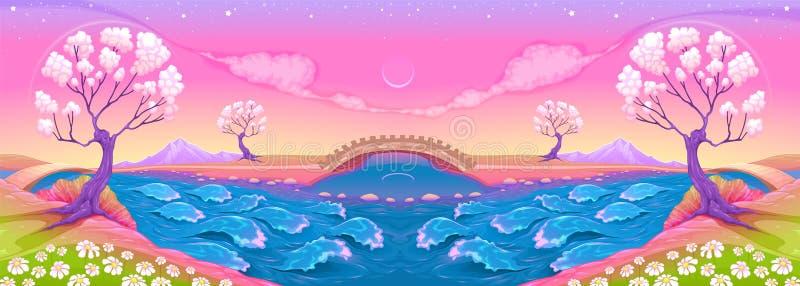 Paisaje de la fantasía con el río stock de ilustración