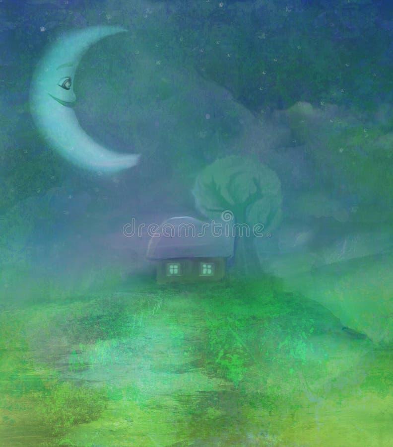 Paisaje de la fantasía con la luna sonriente ilustración del vector