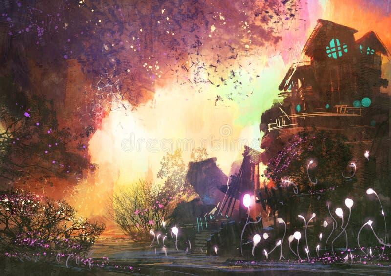 Paisaje de la fantasía con la torre antigua ilustración del vector
