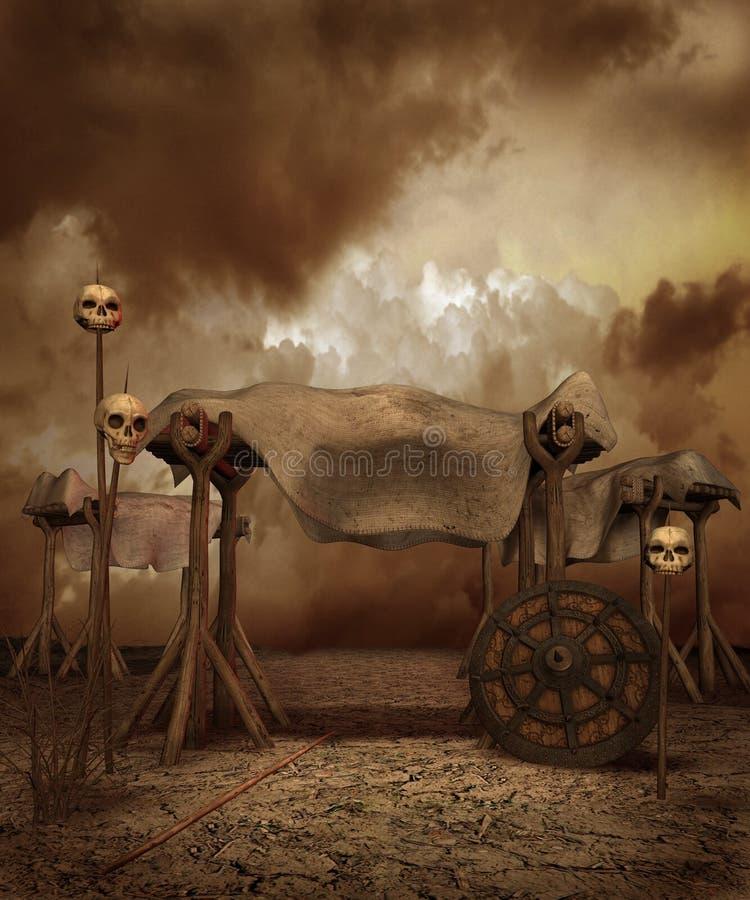 Paisaje de la fantasía con los cráneos libre illustration