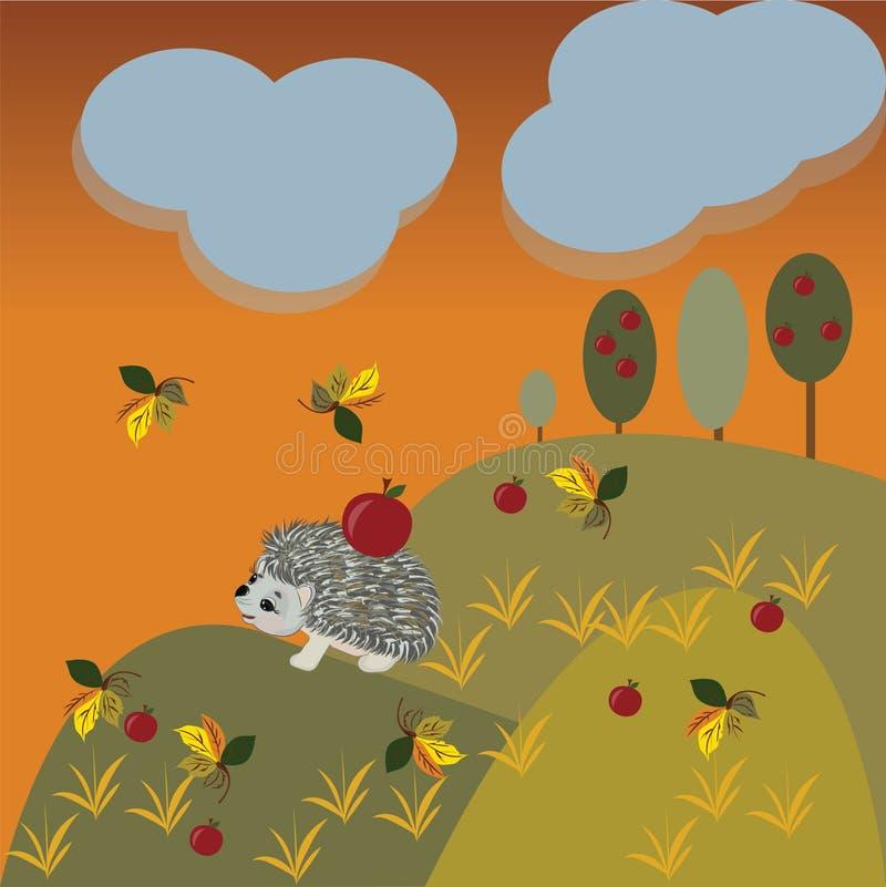 Paisaje de la fantasía del otoño con el erizo ilustración del vector