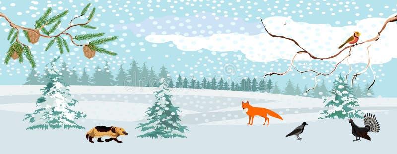 Paisaje de la fauna, invierno en el bosque, ejemplo del vector fotos de archivo