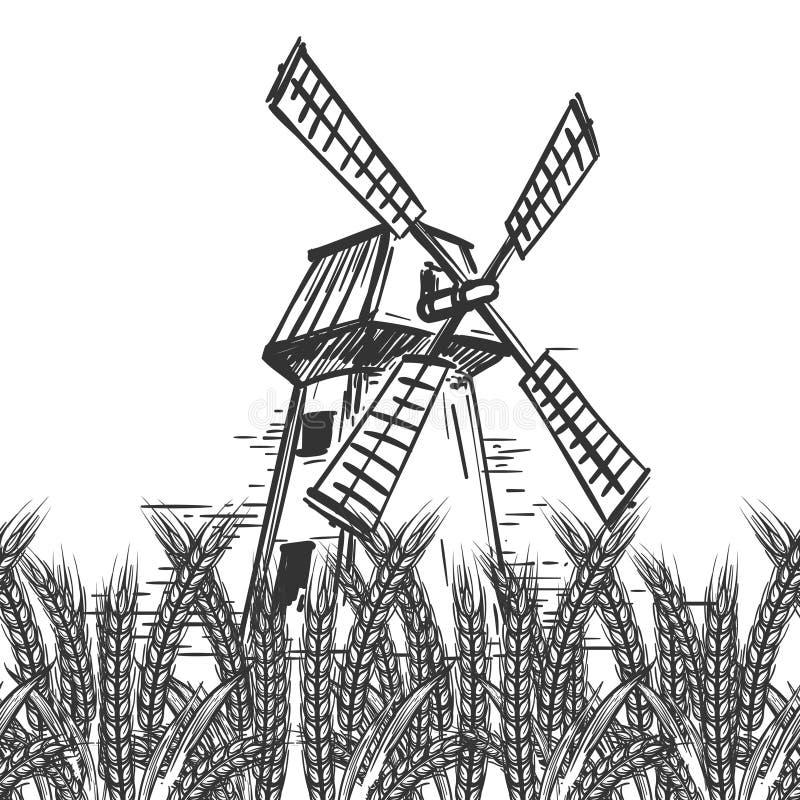 Paisaje de la granja con el molino y el trigo stock de ilustración