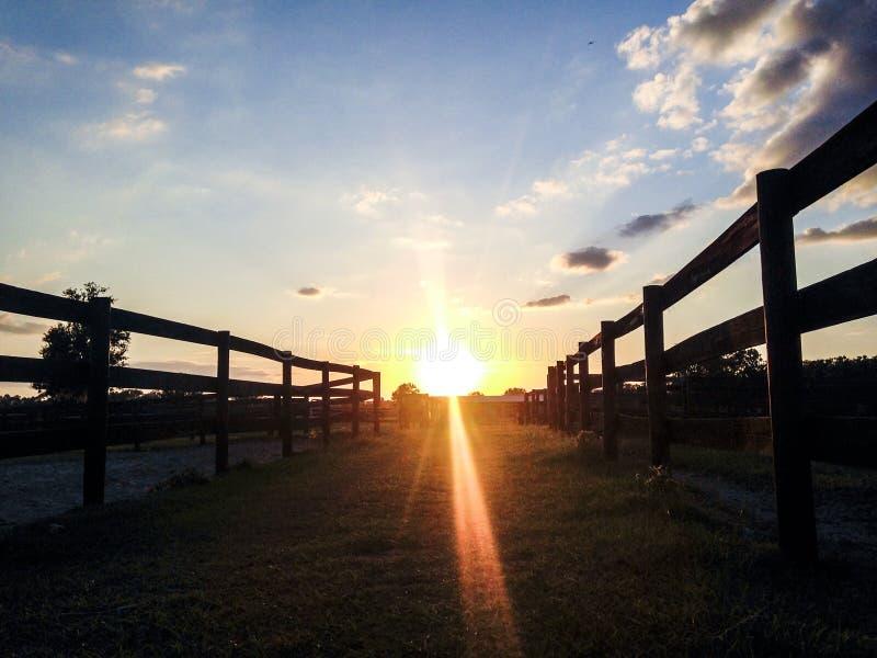 Paisaje de la granja con las cercas y puesta del sol foto de archivo