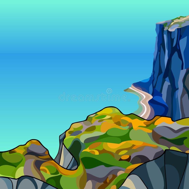 Paisaje de la historieta de la alta costa rocosa escarpada cerca del mar azul libre illustration