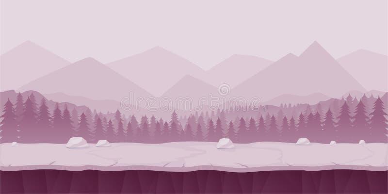 Paisaje de la historieta de la fantasía, fondo inconsútil de la naturaleza para el diseño de juego, efecto acodado de la paralaje ilustración del vector